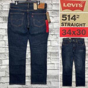 NWT Levis 514 Men's 34 x 30 Dark Straight Jeans